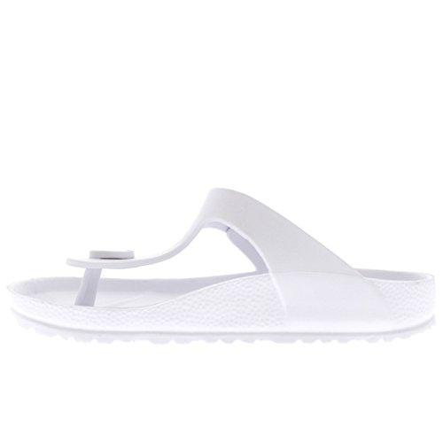 Womens T-Strap EVA Lightweight Holiday Open Toe Beach Sandals Flip Flops White gM472Hj