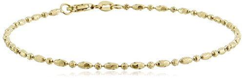 14k Yellow Gold Diamond-Cut Oval and Round Bead Mezzaluna Chain Bracelet, 7