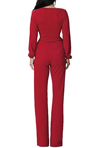 Jumpsuit Donna Sera Tute Con Colore Salopette Lunga Rosso Monopezzo AUzxvWga
