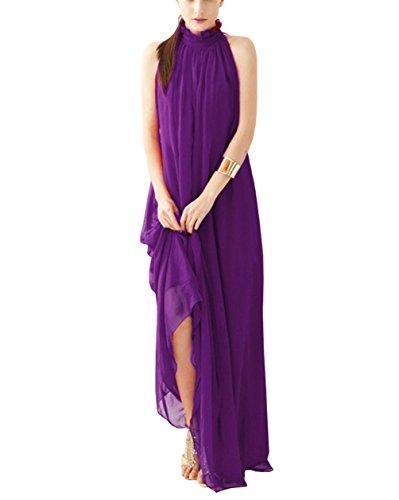 Women's Purple Long Dashiki Dress (Lymanchi Women Maxi Long Casual Summer Evening Beach Party Chiffon Dress Purple)