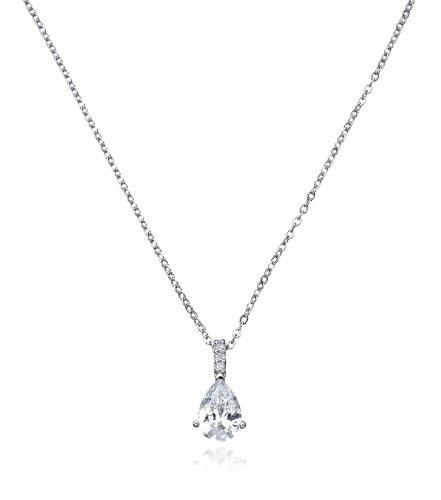 CRISLU Necklace, Platinum Over Sterling Silver Cubic Zirconia Pear Drop Pendant (2 ct. t.w.)