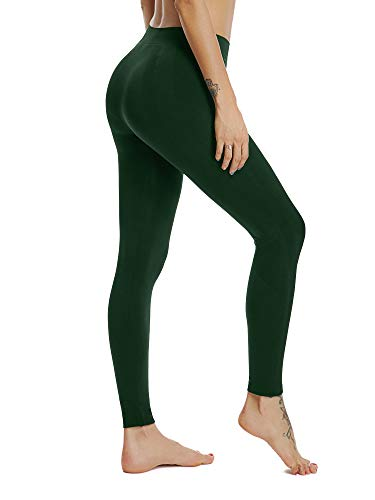 - HOFISH Seamless Sports Pants for Women Capris Exercise Tights Dark Green Medium