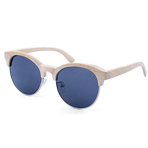 Gafas las montura Gafas de sol de la de que hechas mano calidad polarizadas alta conducen sol a sin gafas mano Adult de ULTRAVIOLETA bambú de de D Sunglasses hechas a protección Beach Eyewear semi sol 5zWqWf