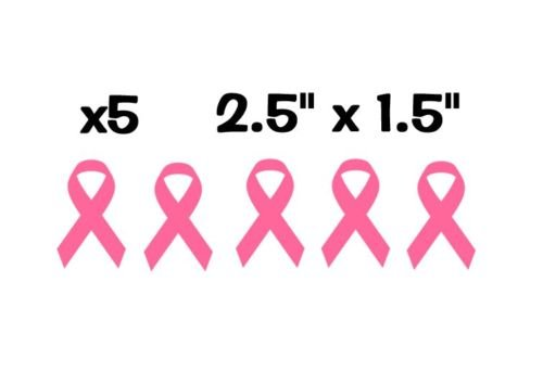 X5 / Five Individual Breast Cancer Awareness Ribbons Pink Pack Vinyl Decal Stickers - Measures 2.5