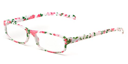 Readers.com The Buttercup +1.00 White Floral Women's Colorful Floral Print Cheater Glasses Rectangle Reading - Reading Floral Glasses