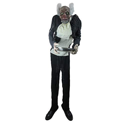 Northlight 5.5' Lighted Standing Butler Man Animated Halloween Decoration with -