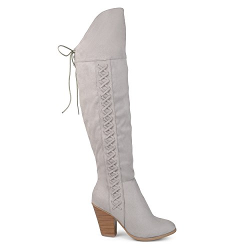 Brinley Co Dames Siro Faux Suede Regular En Wide Calf Faux Lace-up Over-the-knee Laarzen Grijs, 8 Wijd Kalf Us