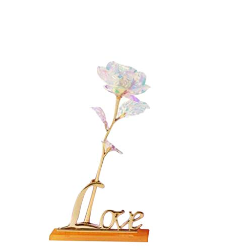 (Crystal Flowers , Puyujin Gold Rose Rose Kit Colored Crystal Rose Led Light with Base, Rose Flower Dipped in Gold with Stand in Gift Box, Gift for Mother's Day,Valentine's Day (Gold))