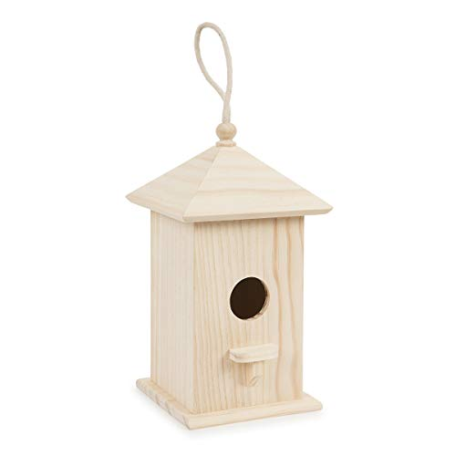 (Darice 30024510 Birdhouse with Picket Perch and Rope Hanger Wood Bird House, Multi)