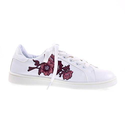 Floral Lappeteppe Brodert Varme Trykk Snøring Sneaker, Hvit Plattform Hvit