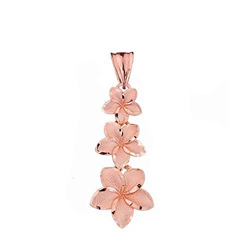 Elegant 14k Rose Gold Hawaiian Plumeria Flowers Charm Pendant