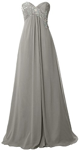 MACloth Women Strapless Empire Long Prom Dress Chiffon Formal Party Evening Gown Plateado