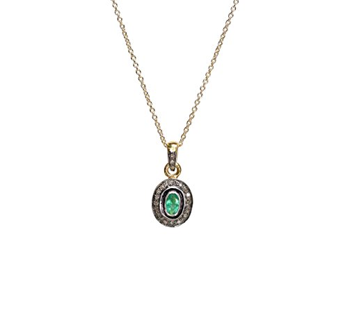 - Genuine Emerald Gemstone Pendant Necklace Rose Cut Pave Diamond- Mixed Metal- 17
