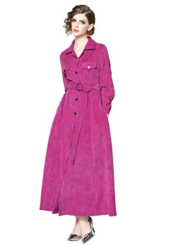 LAI MENG FIVE CATS Womens Long Sleeves Corduroy Button-Front Casual Pocket Shirt Maxi Dress with Belt