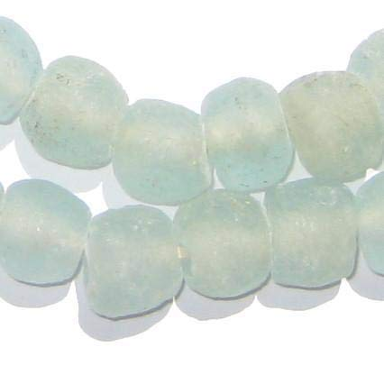 African Recycled Glass Beads - Full Strand Eco-Friendly Fair Trade Sea Glass Beads from Ghana Handmade Ethnic Round Spherical Tribal Boho Krobo Spacer Beads - The Bead Chest (14mm, Clear Aqua)