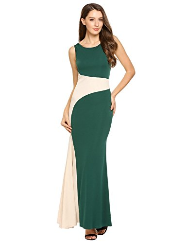 AL'OFA Women's Casual Sleeveless Colour Block Long Maxi Tank Dress