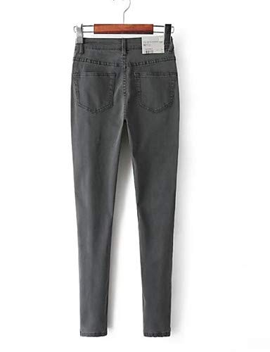 YFLTZ Pantalon Unie Couleur Gray pour Femme Basic Jeans vwdqr1w