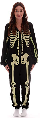 #followme Glow in The Dark Skeleton Women's Adult Onesie Pajamas 6740-L -