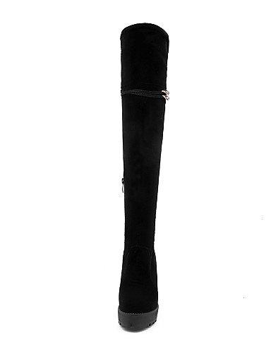 Cuña Uk6 A Moda Xzz Casual Negro Ante Fiesta Tacón Zapatos Cn39 us8 Vestido Eu39 Botas Mujer De Sintético Noche La Y Black xAARqYI