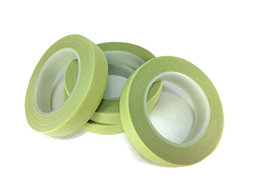 [Floral Tape Light Green 4 Rolls 30 Yards Foral Dark Glue Cohesive 12 mm Pair Artificial Flower Stem] (Made To Measure Belly Dance Costumes)