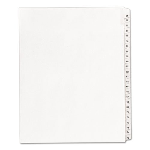 - Allstate-Style Legal Exhibit Side Tab Dividers, 25-Tab, 51-75, Letter, White