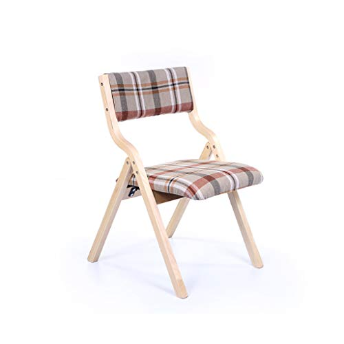 - WRZH Creative Home Lattice Texture Folding Chair Dining Chair Desk Chair Back Chair Living Room European Coffee Leisure Adult Chair (Color : Wood Color)