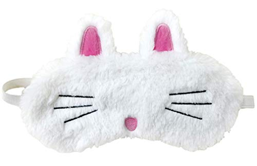 Furry and Colorful Satin-Lined Embroidered Sleeping Bunny Sleep Mask for Girls