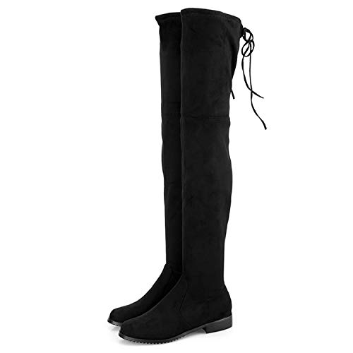 Thigh High Boots Female Women Over The Knee Boots Flat Square Mid Heel High Heels Lace up Stretch Slim Botas Suede 12,Black 1,7