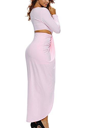 Las Mujeres Con Cuello En V Corta Acanalada Vestido Maxi Vestido De Hendidura Frontal Pink