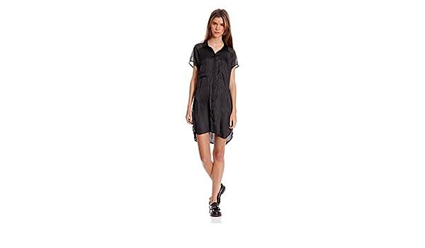 Bershka Vestido Camisero Bolsillos Delante Contrastes Hombros Negro L: Amazon.es: Ropa y accesorios