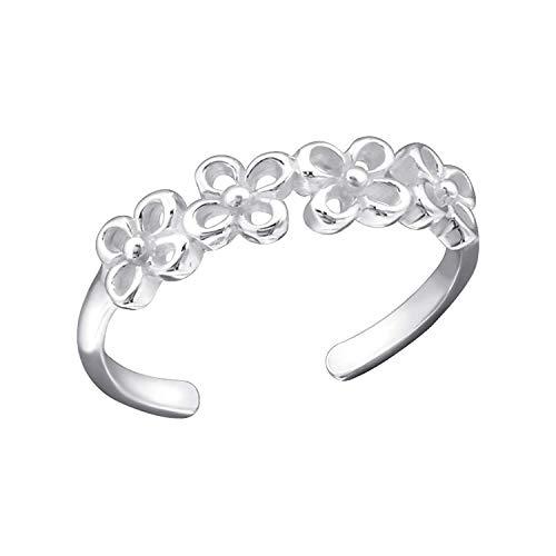 Elinajewels 14k White Gold Finish 925 Sterling Silver Flower Design Toe Ring/Mid Ring Adjustable Size ()