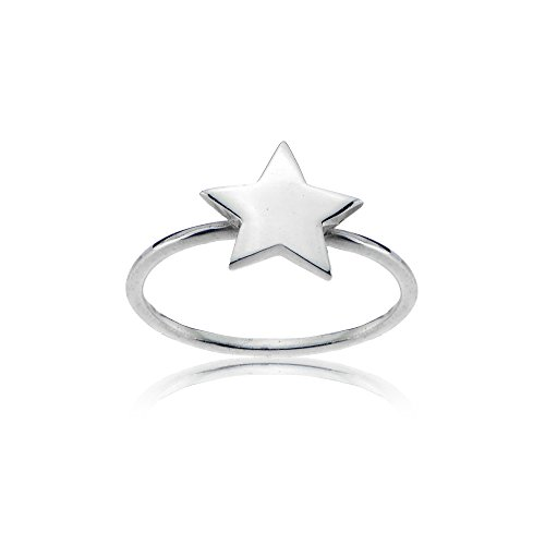 Sterling Silver High Polished Plain Simple Dainty Star Ring, Size 8