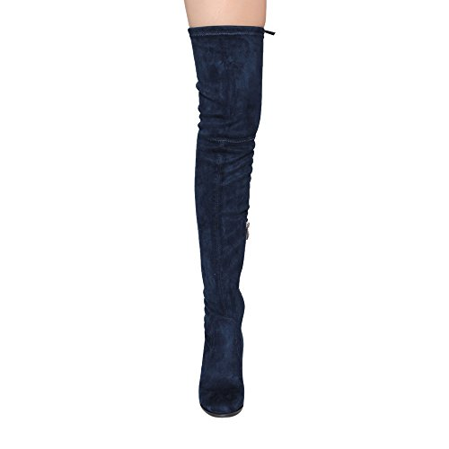 Inside Fit Zip Boots BESTON Block GF58 Drawstring Navy Heel High Women's Snug Thigh qw4R8txf