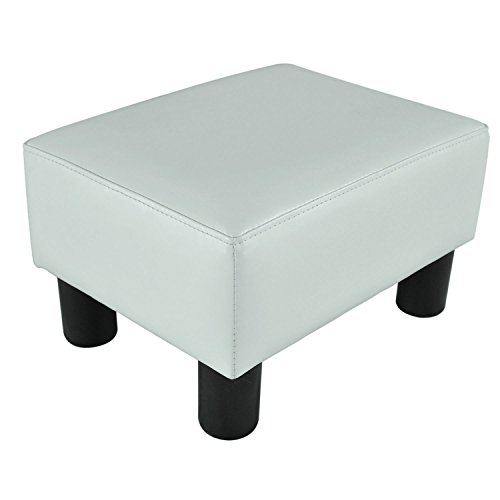 HOMCOM Modern Small Faux Leather Ottoman/Footrest Stool - White