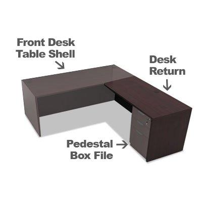 Alera Valencia Collection Full Office Desk Bundle Includes 1 Front Desk Table Shell 1 Pedestal Box File and 1 Desk Return (Espresso - Office Desk Bundle) ()