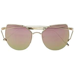 Women's Half Frame Cross Bar Flat Color Mirrored Lens Metal Cat Eye Fashion Sunglasses (Gold / Pink, 57)