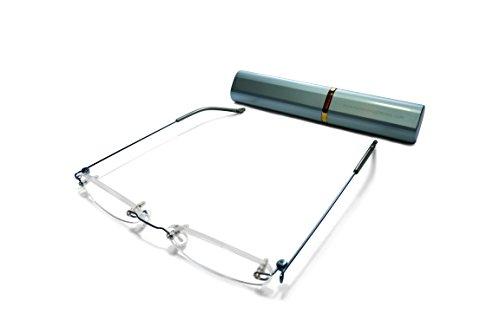2 Gafas unisex funda Turquesa Por Ultra delgadas ligeras marco lectura aluminio y de Incluyen 0 ilovemyreadingglasses Negro ultra de una juego sin a r6BXrq