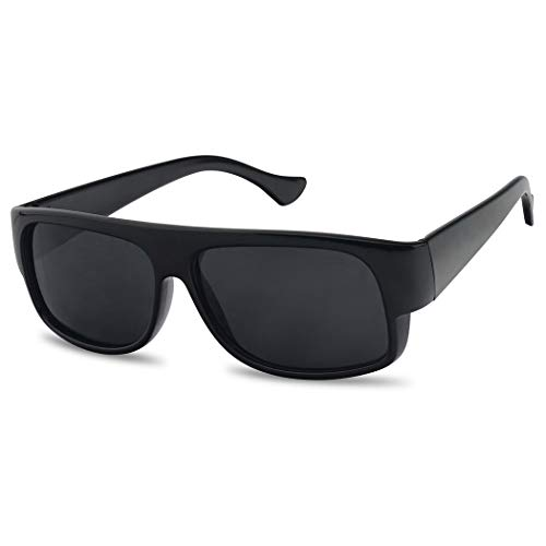 SunglassUP Original OG Classic Flat Top Eazy E Super Dark Limo Tint Sunglasses (Black)