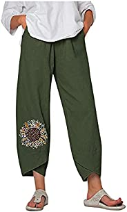 fartey Wide Leg Linen Pants for Women Loose Soft Lounge Pants High Waist Elastic Sport Pants with Pockets