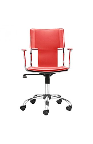 Trafico Office Chair Red. This fun and functional office chair combines a modern and transitional look. The Trafico office chair is made from a solid chrome frame, leatherette sling seat and arm pads, a chrome base, and an adjustable height mechanism. ()