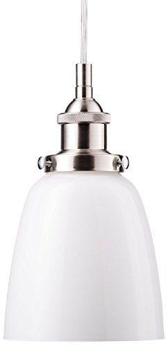 Fiorentino Brushed Nickel Pendant Light – w/ Milk Glass Shade - Linea di Liara LL-P281-MILK-BN