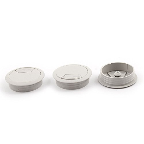 EbuyChX PC Computer Desk Table Round Grommet Tidy Cable Wire Hole Cover 53mm Dia 3 PCS Gray