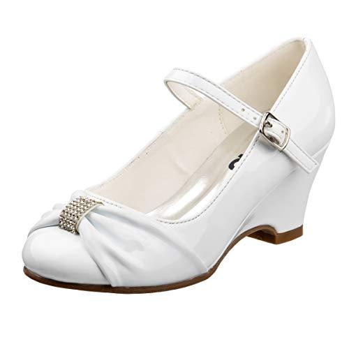 Josmo Girls Wedge Heel Dress Shoe Rhinestone Buckle Bow (Little Kid, Big Kid) (13 M US Little Kid, White Bow)' -