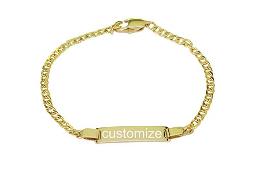 ProLuckis Personalized Gold Baby Bracelet Engraved Name Baby ID Protection Bracelets Adjustable ()