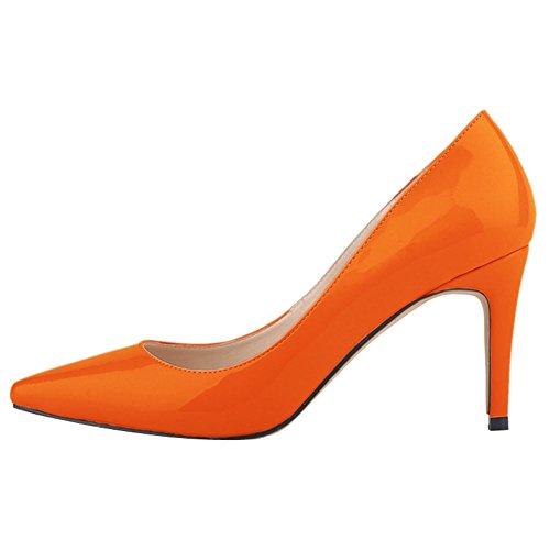 zapatos Stiletto Mujer PU puntiaguda de Bombas OCHENTA de boda sexy Naranja Rojo aY8wnxS