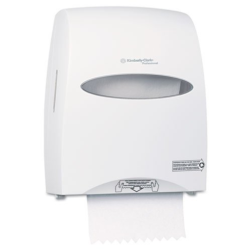 KIMBERLY-CLARK PROFESSIONAL* WINDOWS SANITOUCH Roll Towel Dispenser, 12 3/5 x 10 1/5 x 16 1/10, White - Includes one towel dispenser and mounting hardware.