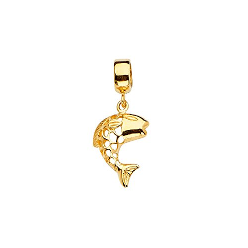 Mia Diamonds 14k Yellow-Gold Fish Charm For Mix And Match Bracelet (24mm x 10mm)