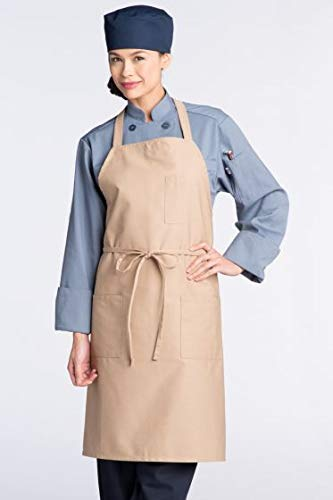 sex Bib Apron 3 Pockets, Khaki, One Size ()