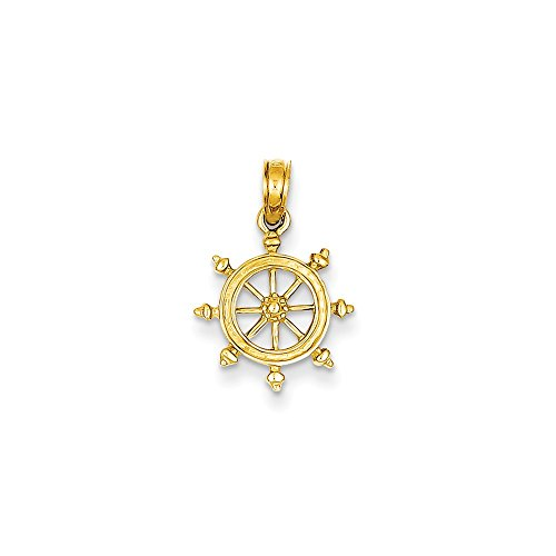 14k Yellow Gold Ship Wheel - Ships Wheel Gold