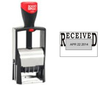 """2000 PLUS CLASSIC LINE 2360 DATE STAMP WITH TEXT """"RECEIVED"""" - Perfect For Your Business / Office / Home / School Needs - Self-Inking Stamps Designed To Save You Time And Money RECEIVED With Date BLACK Ink Also Available In Other Colors"""